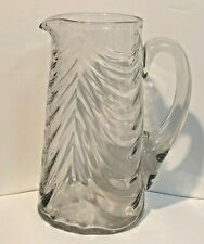 Antique Clear Glass Pitcher Lincoln Draped Design with Applied Handle In VGC