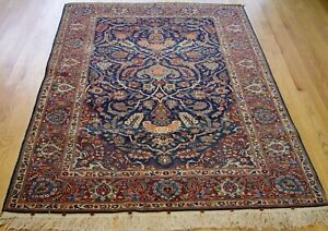 "4'5"" x 6'9"" Antique 1900s Tribal Hand-Knotted Wool Blue Floral Oriental Rug"