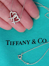 Tiffany & Co Paloma Picasso Loving Heart Interlocking Silver Pendant Necklace