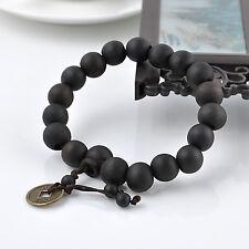 Black Peach Wood Buddhist Prayer Beads Bracelet Mala Bangle Wrist Coins Ornament
