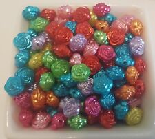 Acrylic Spacer Rose Beads New Bright Colored 200 Pieces
