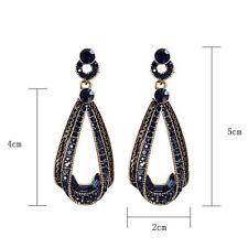 Dangle Drop long earrings earrings Retro Vintage  00004000 dark blue Teardrop Rhinestone