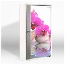 Medikamentenschrank NEU Weiß Holz Wohnaccessoire Badschrank Orchidee Wandschrank