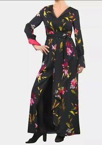 Coast womens Work Party Black Floral Frill Front Maxi Dress Long Sz 12~RRP £129
