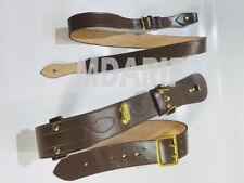 More details for sam brown belt with sam brown shoulder strap brown leather brass buckle sam, new