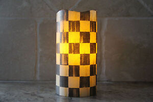 ❤️Vanilla Flameless LED Candle made w/Mackenzie Childs Courtly Check Tissue❤️