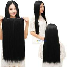 Fashion 3/4 full head Clip In Hair Extension Black straight with 5 clips long #M
