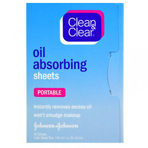 Clean And Clear, Oil Absorbing Sheets, Portable, 50 Sheets