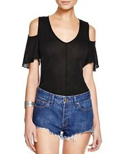 People OB506222 Bittersweet Cold Shoulder Short Sleeve Knit Top Black L