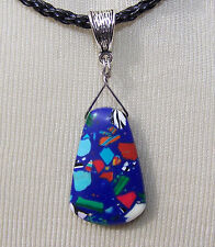 BLUE MOSAIC BEAD  BLACK BRAIDED CORD NECKLACE turquoise green red   handmade