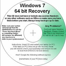 Windows 7 64bit Recovery Repair Restore Boot CD for Basic Premium Pro & Ultimate