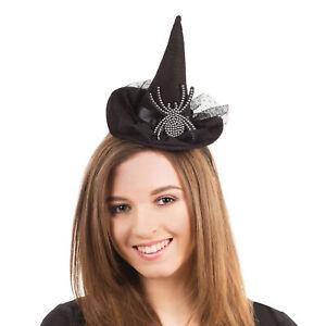 Adults Witch Hat on Headband with Diamante Spider Halloween Fancy Dress Headwear