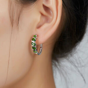 Silver 925 Hoop Huggie Earrings For Women Gift Russia Emerald Color Gemstone