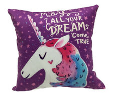"HORSE & WESTERN GIFTS HOME DECOR KIDS UNICORN DREAMS CUSHION COVER 16"" PURPLE"