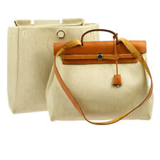 Auth HERMES HER BAG MM 2 in 1 2way Hand Bag Beige Toile H Leather Vintage B31822