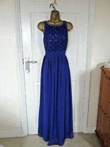 """Quiz .Size UK-14 Lined Chiffon Beaded Long Dress in Purple Bust 38"""""""