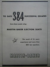 12/1960 PUB MARTIN BAKER EJECTION SEAT 384 SIEGE EJECTABLE ESCAPE SYSTEM AD