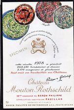 PAUILLAC 1EGCC ETIQUETTE CHATEAU MOUTON ROTHSCHILD 1978 DECOREE 75 CL §22/04/17§