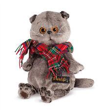 Plüschtier Katze mit Schal Basik Scottish Fold Cat Softtoy Stuffed Peluche 22 cm