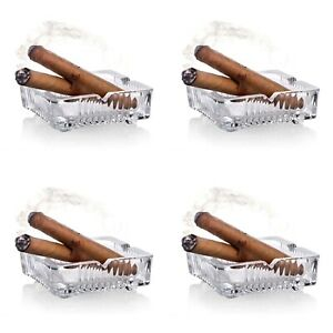 Pack of 4 Square Glass Crystal Cut Cigarette Ashtray Smokers Table Ashtray