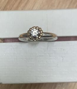 Genuine Pandora Two Tone 14ct Gold & Silver Bubble Wreath Halo Ring Size 56/O Se