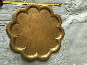 Rustic, Hand chased, Indian Brass tray - Vishnu and the seven mothers