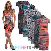 Womens Jersey Silky Short Sleeve Midi Dress Ladies Casual Knee Length Dress