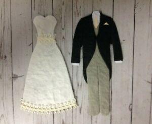 2 Wedding Dress & 2 Morning Suit Wedding Card Making Scrapbook Embellishments