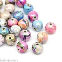 300 Neu Mix Mehrfarbig Kugeln Acryl Floral Perlen Beads 8mm
