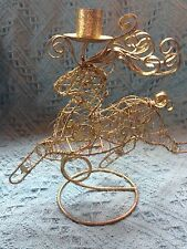NOS GOLD WIRE REINDEER CANDLE HOLDER