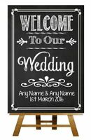 Chalkboard Welcome To Our Wedding Vintage Personalised Wedding Sign / Poster