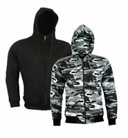 Motorcycle Motorbike Armoured Hoodie Hoody Fleece Jacket Zip Up Removable Armour