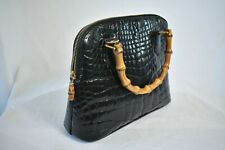 Rare! Vintage GUCCI Black Crocodile & Bamboo Women's Purse HandBag 000-01-0290