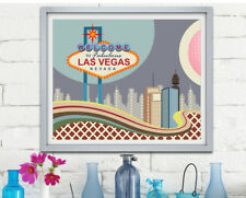 Vegas Strip Print Art Las Wall Poster USA Travel PosterDecor Geometric Painting