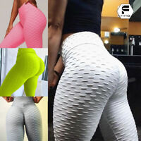 Womens Yoga Pants Ruched Butt Lift High Waisted Leggings Sports Fitness Trousers