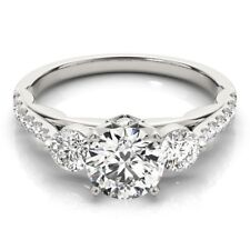 1.00 Ct Certified Real Diamond Engagement Ring Hallmarked 14K White Gold Size M