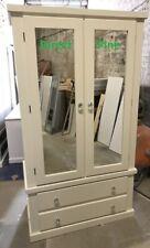 HANDMADE SHAFTESBURY GENTS 2 DRAWER 2 MIRROR DOOR WARDROBE CREAM/CRYSTAL HANDLES