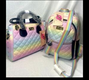 Betsey Johnson 💋🌈 LUV PASTEL RAINBOW PURSE HAND BAG OMBRE BACKPACK BACK $156.0