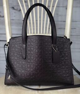 COACH 51728 Charlie Carryall In Signature Embossed Leather Bag Oxblood Gold $350