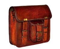 Bag Goat Leather Genuine Vintage Messenger Laptop Briefcase Dark Brown Satchel