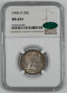 1908 O BARBER QUARTER 25C NGC & CAC CERTIFIED MS 65+ MINT STATE UNC PLUS (001)