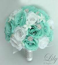17 Piece Package Silk Flower Wedding Bridal Bouquets TIFFANY BLUE SPA POOL Robin