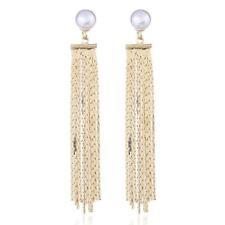 """Beautiful Elegant Fancy Gold Color """"Pearl"""" Long Dangle Drop Chandelier Earrings"""