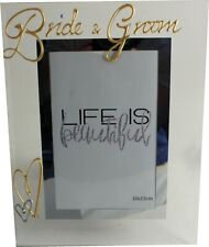 Bride and Groom Wedding Photo Picture Frame with Crystals (Port)