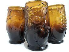 Vintage Italian Smoky Brown Glass Juice Wine Goblets Set of 4