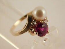 RED SAPPHIRE PEARL 10K GOLD RING SZ 6 SIGNED SPRING GIFT BOX