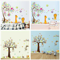 Removable Wall Stickers Cute Animal & Tree Decals Art Kids Room Home Decor