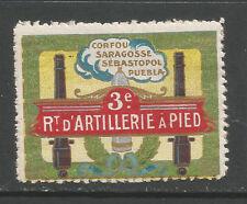 Francia/Primera Guerra Mundial 3rd Regimiento Artillería de pie sello de cartel delandre/Etiqueta