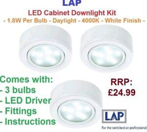 LAP  LED Under Cabinet Kitchen Cupboard Light Spots White Daylight SMD 3 Pack