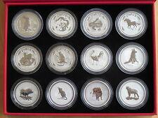 Satz (12St) 2oz Silber Lunar I Australien Hase Schlange Pferd Tiger